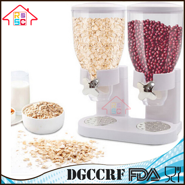 NBRSC Double Cereal Dispenser Dry Food Storage Container Dispense Machine White Black Red