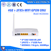 4GE Data Ports + 2FXS Voice Ports + USB Port+ WiFi FTTH GPON 2T2R One Internal Antenna and One External Antenna Wireless ONU