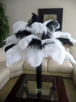 PARTY DECORATION WHITE/BLACK OSTRICH PLUMES FEATHERS FOR WEDDING CENTERPIECE