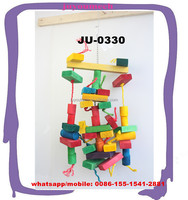 New design natural dye sisal rope wooden blocks bird balancing playing training toys JU-0330
