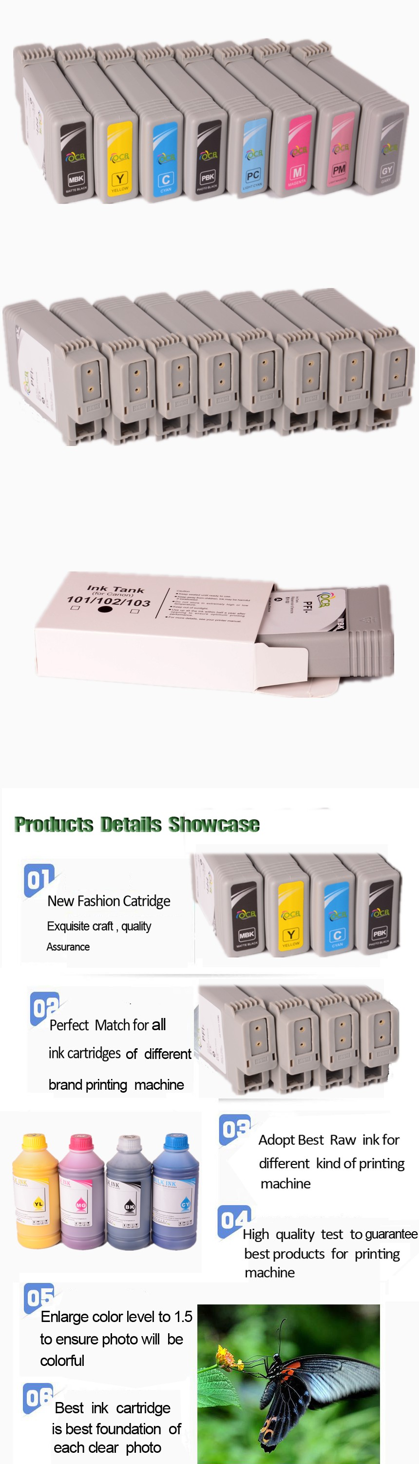 Pfi-105 260Ml Ink Cartridge For Canon Ipf 6300 6350 Compatible Ink Cartridge