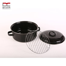 Food Grade Carbon Steel Black Enamel Coating Potato Casserole Pot with Stainless Steel Rack
