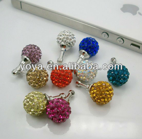 P0831 Crystal Pave Ball Earphone Jack Dust Plug,Phone Charm