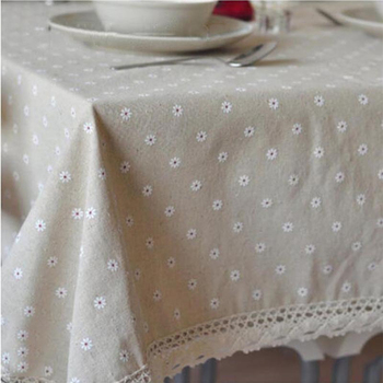 Factory Wholesale Low Price Available In Various Sizes Cotton And Hemp Machine Washable Countryside Style Picnic Table Cover 012