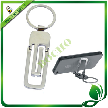 metal mobile phone support keyring, metal keyring for mobile holder, Metal keychain with mobiler stander