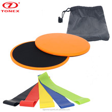 Sliding Disc Gliding Discs Core Sliders Professional Gliding Discs and Resistance Loop Bands Bundle Set of 5 Loops for Exercise