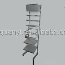 custom adjustable shelf grocery store display racks/grocery shelf metal rack/floor steel display rack with light box