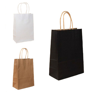 custom print black white and brown kraft paper bag with handle your own logo