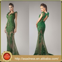 HTJ10 custom made sexy See Through evening Gowns online shopping Lady Open Back Emerald Green Turkish evening dresses