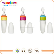 Mumlove Best baby product assisted food silicone squeezeable baby spoon for baby dispenser feeding