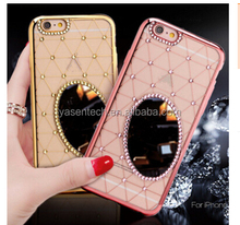new fashion luxury diamond bling grid mirror case for iphone 6 6 plus 5 3D rhinestone case Top quality crystal phone Case