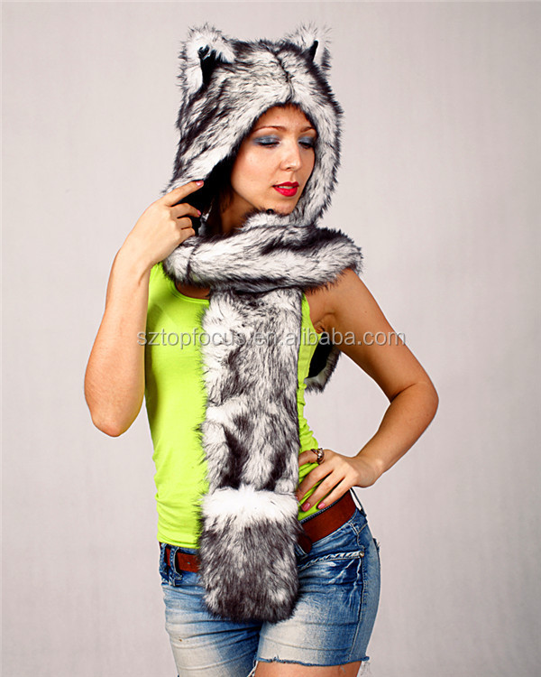 Top quality profession cheaper lovely faux fur beanie winter women animal hat