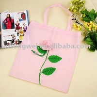 promotion eco-friendly rose foldable bag / polyester folding shopping bag