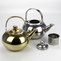 Best selling commercial 1000ml heat-resistant stainless steel tea pot with tea strainer
