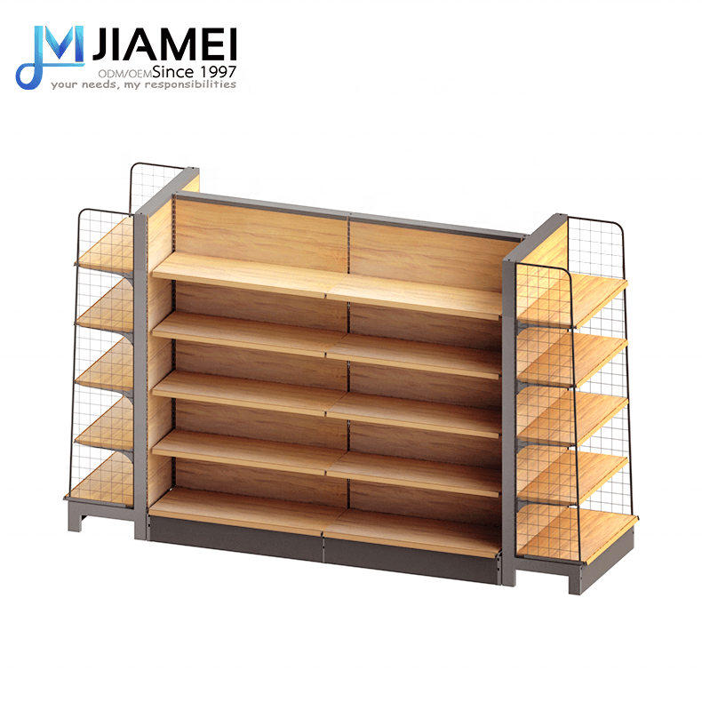 JIAMEI 2019 Hot Sale Metal Plate Shelf Wood Grain Display Shelf
