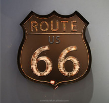 Illuminated Antique US route 66 metal wall decor
