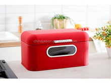 BRS1764 Flat Cover Bread Bin with Window Metal Bread Box