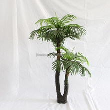 Artificial two plastic trunk palm trees for house decoration