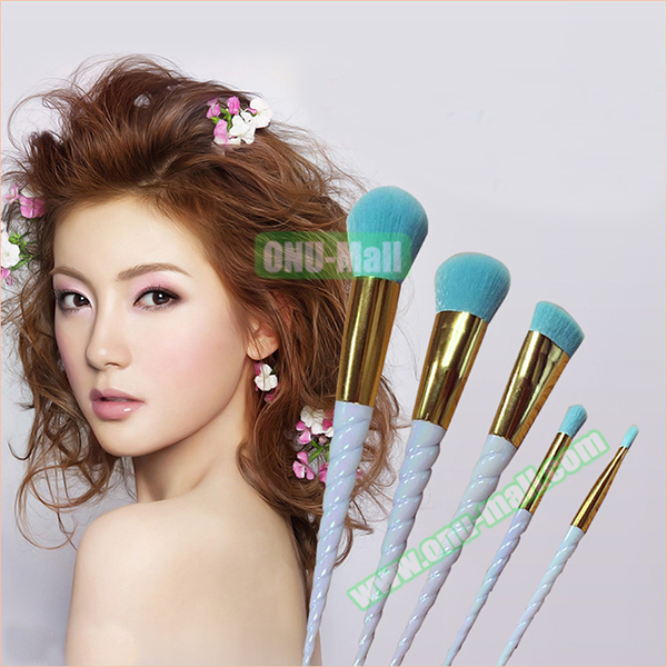 Custom Logo 5pcs Professional Cosmetic Unicorn Spiral Makeup Brushes
