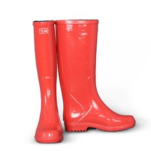 Fashionable new high knee rubber boots /work shoe/wellies/rain boot for women with side buckle