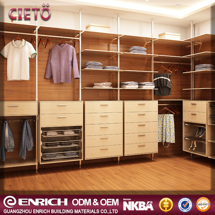 Modern bedroom cloth wardrobe steel design aluminum system ajastable walk in closet