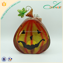 Quality artificial iron glass T-lite holder craft Halloween pumpkin decor