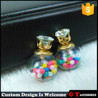 New Model Double Sided Earrings Woman, Transparent Glass Ball Charm Earrings