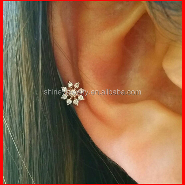 2016 <strong>fashion</strong> 925 sterling silver cz snowflake ear cuff for christmas gift
