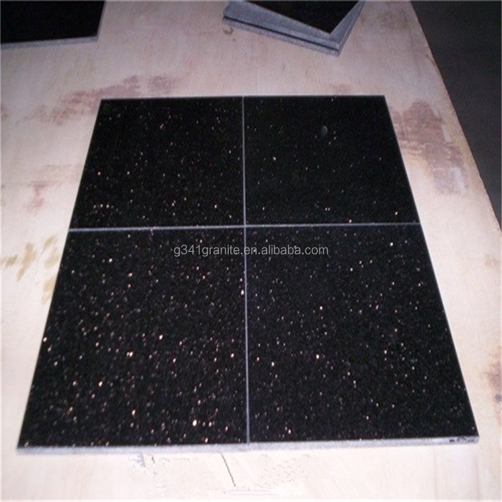 600x600mm black galaxy granite floor tile