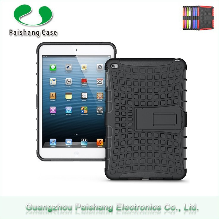 New design fashionable tablet case soft Handel with kickstand TPU PC dual layer stand protective case for ipad Mini 4