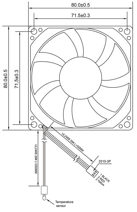 CoolCox 80x80x25mm fan with temperature control function,8025 fan with temperature sensor