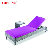 TOPHINE Outdoor Furniture Luxury Beach Rattan Sun Bed Lounger With Wheels