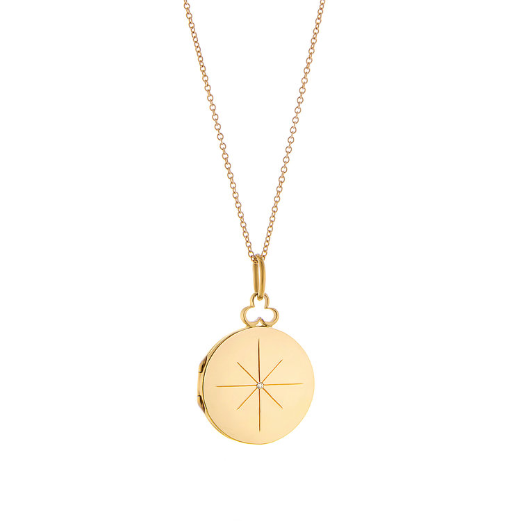 2019 Fashion Gold Disc Necklace Stainless Steel North Star Necklace With Diamond Dainty Jewelry For Girl Women