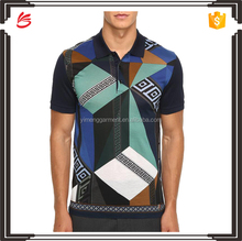 Custom high quality cotton/polyester blend print polo t shirt men