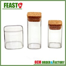 2015 New style square glass jar Best selling glass storage jar High TRANSPARENCY square glass jar with wire colosure lid
