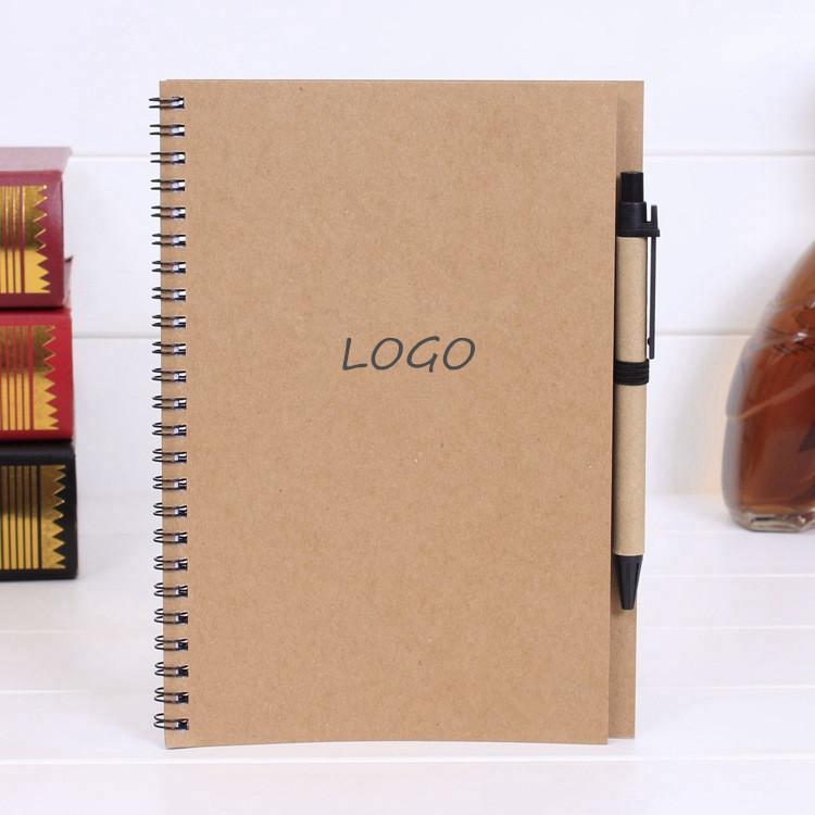 A5 Hot Sales Logo Printed Cheap ECO Kraft Paper Hardcover Notebook With Pen