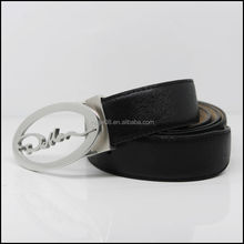 M154 Black fashion leather belt with covered buckle
