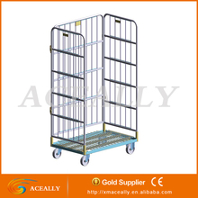 collapsible 3 sided wire roll cage