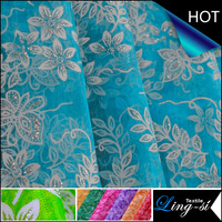 Nylon Organza Two Tone Metallic Printed Fabric for Dress and Clothing