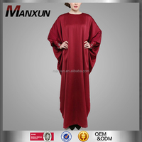 2016 Red Kaftan Satin Fabric Jalabiya For Ladies Batwing Sleeve Islamic Clothing Arab Women Apparel