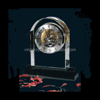Elegant Glass Crystal Cristal Table Clock for Wedding Souvenirs