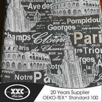 old Paris pattern roll up fabric curtains