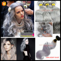 Wholesale Factory Price Remy Hair Double Weft 2016 Best Selling grey remy human hair weave