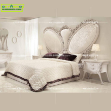 Romantic Angel wings shape white wedding bed, Luxury solid wood carving bed