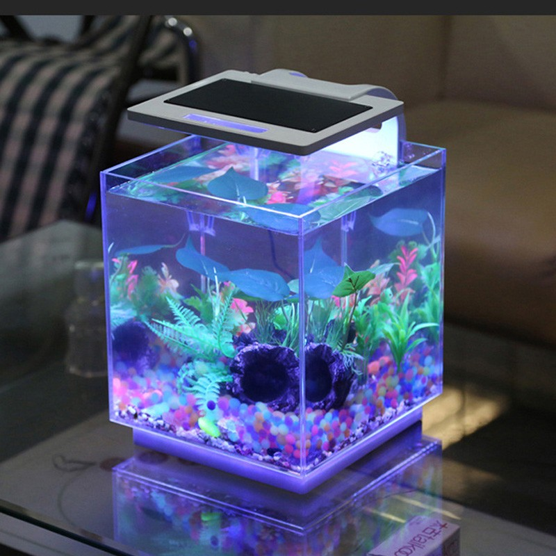 High quality fish aquarium tank acrylic material with LED aquarium light with high-brightness bead