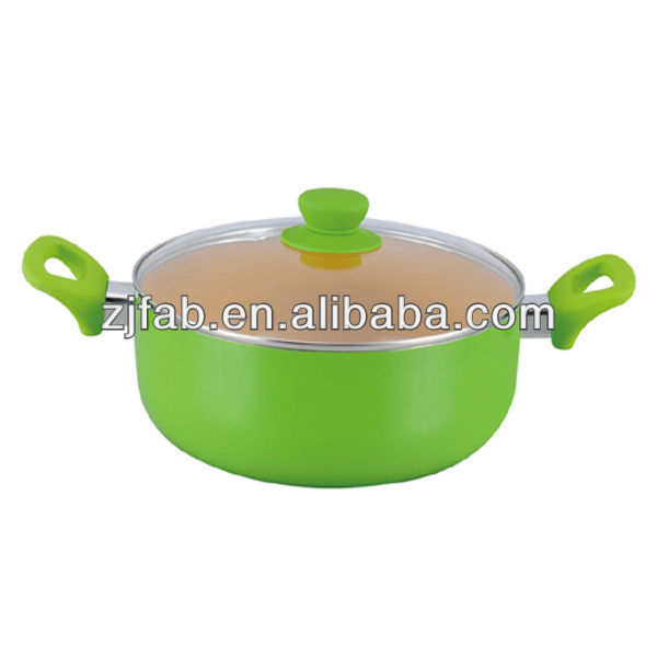 Health and Eco-friendly Green Painting Outside Aluminum Non-stick Casserole with Glass Lid