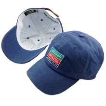 Blue washed baseball cap back leather strap and metal buckle baseball cap