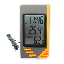 Portable digital room lcd thermometer & hygrometer with ce certification wall clock room thermometer(S-WS07A)