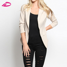Fashion Ruched 3/4 Sleeve One Button Blazer Fitted Formal Casual Jacket