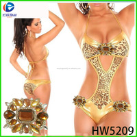 Crystal yellow color make up buckle flower for women underwear and swimwear